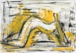 Woman in Yellow   (charcoal, compressed charcoal, pastel)