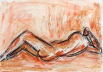 Resting Figure   (pastel, charcoal, compressed charcoal)